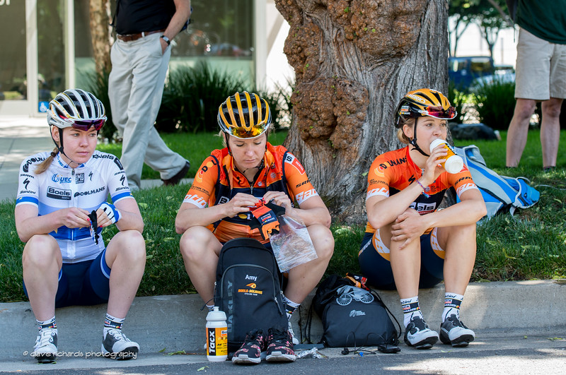 Boels Dolmans riders  fueling up before the start of the Women's Stage 4 in downtown Sacramento. 2017 Amgen Tour of California (Photo by Dave Richards, daverphoto.com)