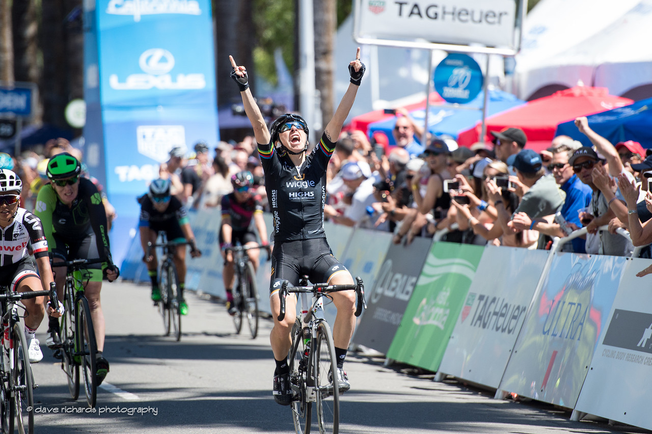 Giorgia Bronzini (Wiggle High5 Pro Cycling) celebrates her win on Women's Stage 4,  2017 Amgen Tour of California (Photo by Dave Richards, daverphoto.com)