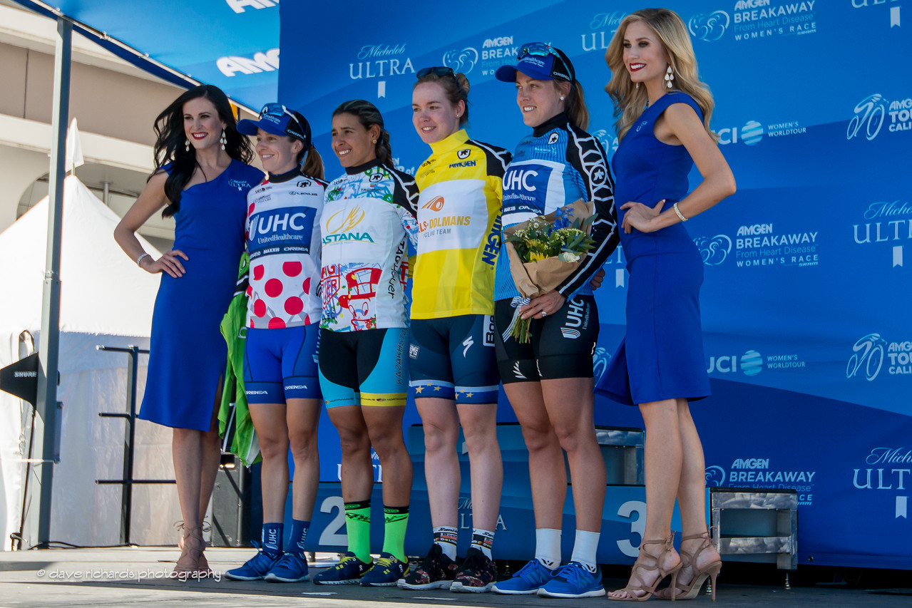 Overall women's race leaders (L-R): Queen of the Mountain- Katie Hall (United Healthcare Pro Cycling) Best Young Rider & Sprints Leader- Arlenis Sierra (Astana Women's Team) Yellow Jersey Race Winner- Anna Van Der Breggen (Boels-Dolmans Cycling Team) Most Courageous Rider-  Unamed rider (United Healthcare Pro Cycling Team) 2017 Amgen Tour of California (Photo by Dave Richards, daverphoto.com)