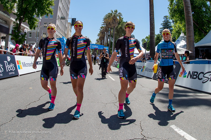 The Visit Dallas DNA Pro Cycling Team riders strutting their stuff before the start of the Women's Stage 4 in downtown Sacramento. 2017 Amgen Tour of California (Photo by Dave Richards, daverphoto.com)