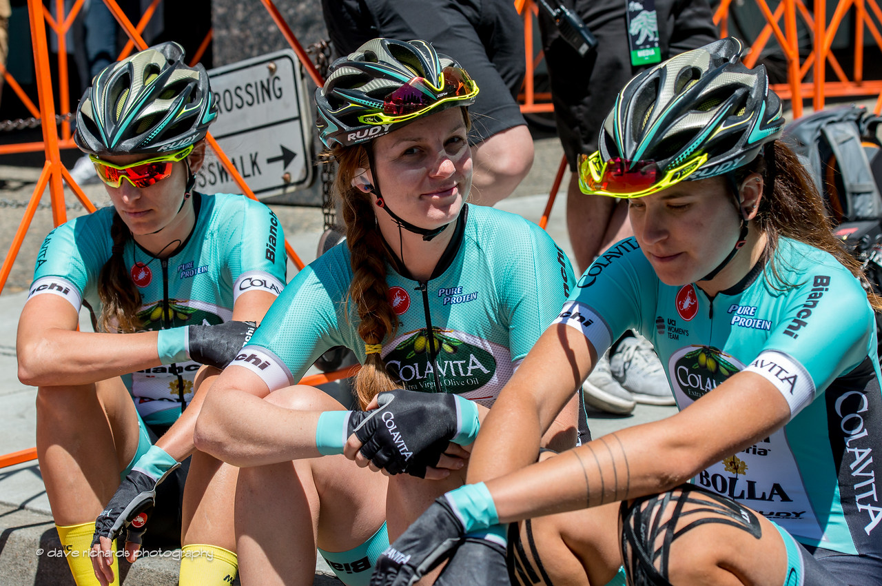 Team Colavita | Bianchi riders awaiting the start of the Women's Stage 4 in downtown Sacramento. 2017 Amgen Tour of California (Photo by Dave Richards, daverphoto.com)