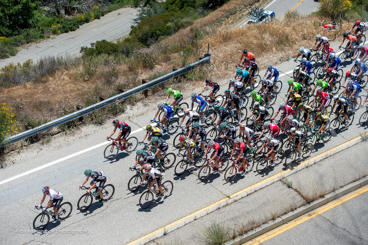 The peloton rides up steep switchbacks on Mt. Baldy Road. Men's Stage 5, 2017 Amgen Tour of California (Photo by Dave Richards, daverphoto.com)