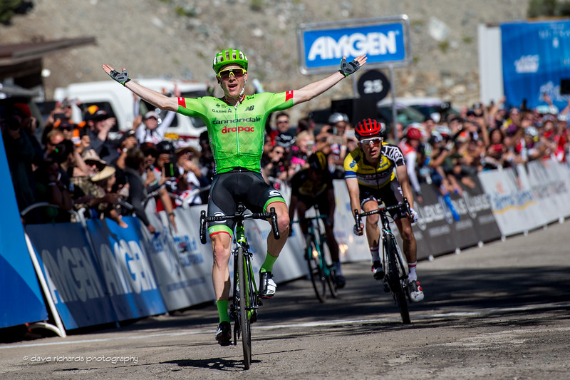 yellow jersey leader Majka (Bora-Hansgrohe) looks on as Andrew Talansky (Cannondale-Drapac Pro Cycling) captures the win on Men's Stage 5, 2017 Amgen Tour of California (Photo by Dave Richards, daverphoto.com)