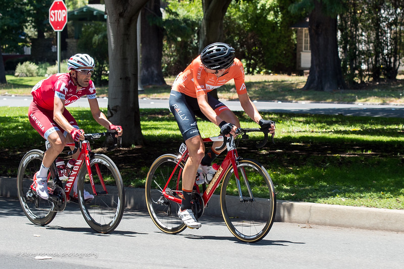 Dal Cin (Rally Cycling) looks back to check on Machado ((Team Katusha Alpecin)  while in the early break on Men's Stage 5, 2017 Amgen Tour of California (Photo by Dave Richards, daverphoto.com)