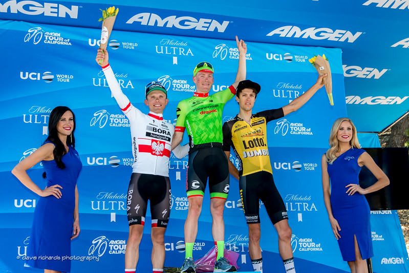 Men's Stage 5 podium (L-R): 2nd place - Majka (Bora-Hansgrohe) 1st place- Talansky (Cannondale-Drapac Pro Cycling) 3rd place- Bennett (Team Lotto NL-Jumbo), 2017 Amgen Tour of California (Photo by Dave Richards, daverphoto.com)