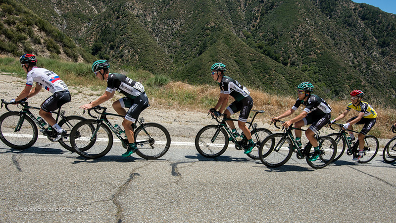 Bora-Hansgrohe in formation protecting the yellow jersey leader Majka on the climb up Mt. Baldy Road. Men's Stage 5, 2017 Amgen Tour of California (Photo by Dave Richards, daverphoto.com)