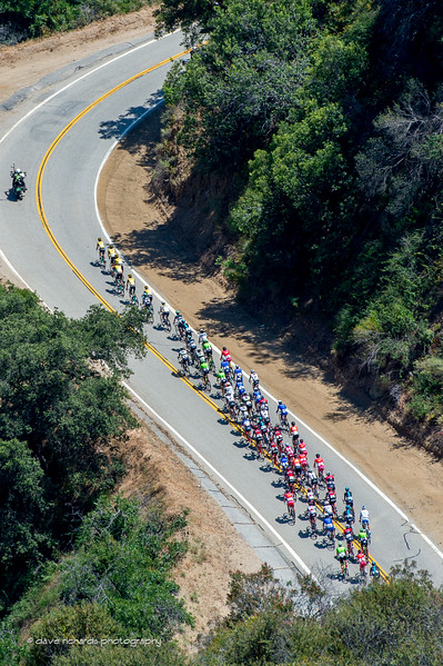 View from above as the peloton climbs Glendorra Mountain Road. Men's Stage 5, 2017 Amgen Tour of California (Photo by Dave Richards, daverphoto.com)