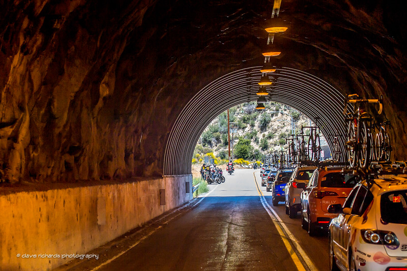 Team cars ride through a tunnerl during Men's Stage 5, 2017 Amgen Tour of California (Photo by Dave Richards, daverphoto.com)