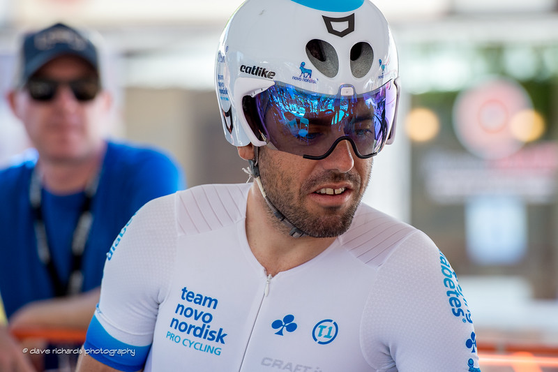 Javi Megias (Team Novo Nordisk) readies for the Individual Time Trial, Men's Stage 6, 2017 Amgen Tour of California (Photo by Dave Richards, daverphoto.com)