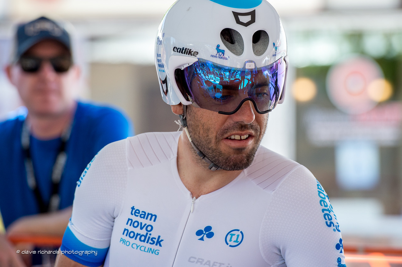 Javi Megias (Team Novo Nordisk) readies for the Individual Time Trial, Men's Stage 6, 2017 Amgen Tour of California (Photo by Dave Richards, daverphoto.com)