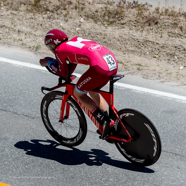 Katusha rider pushing it. Individual Time Trial, Men's Stage 6, 2017 Amgen Tour of California (Photo by Dave Richards, daverphoto.com)