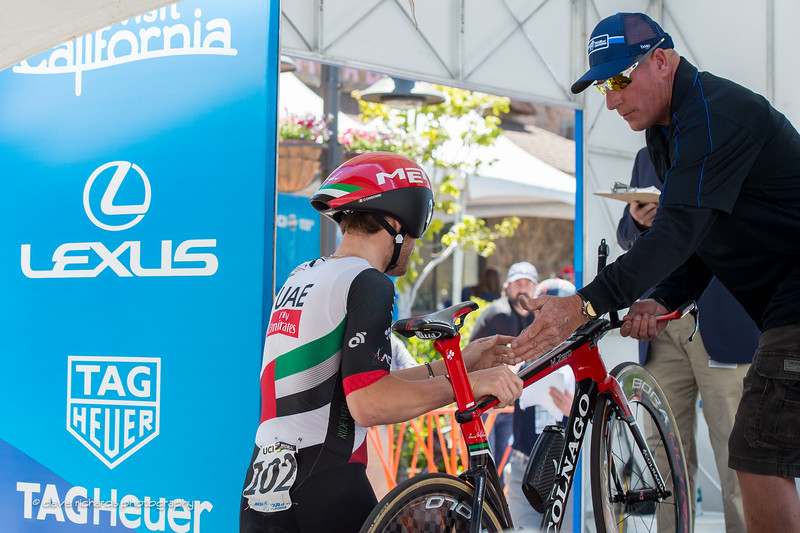 UAE rider hands his bike up to start the Individual Time Trial, Men's Stage 6, 2017 Amgen Tour of California (Photo by Dave Richards, daverphoto.com)