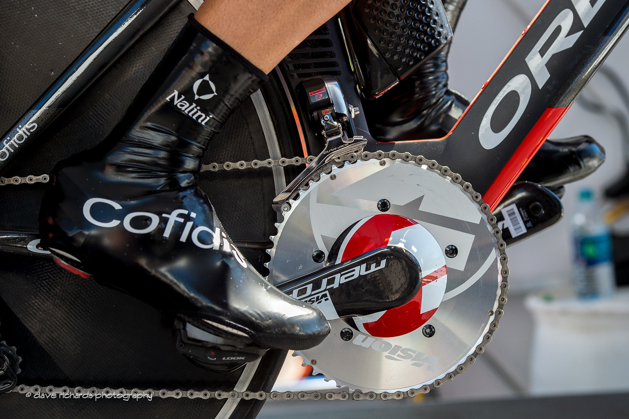 Big chain rings and slippery shoe covers. Individual Time Trial, Men's Stage 6, 2017 Amgen Tour of California (Photo by Dave Richards, daverphoto.com)