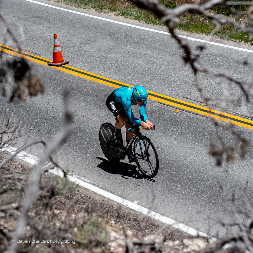 Astana rider glimpsed through the tress. Individual Time Trial, Men's Stage 6, 2017 Amgen Tour of California (Photo by Dave Richards, daverphoto.com)