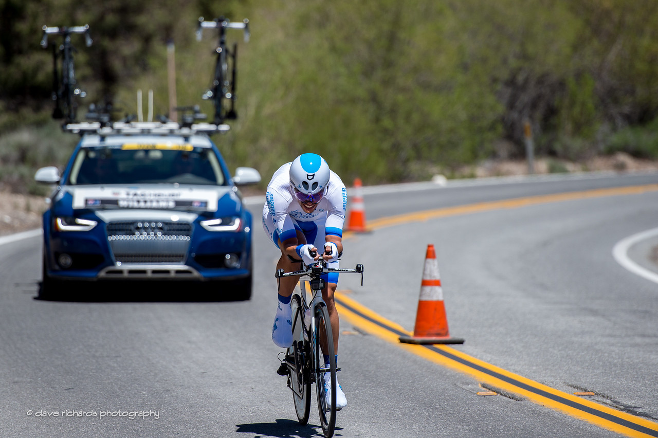 Novo Nordisk rider head down & drillin' it. Individual Time Trial, Men's Stage 6, 2017 Amgen Tour of California (Photo by Dave Richards, daverphoto.com)