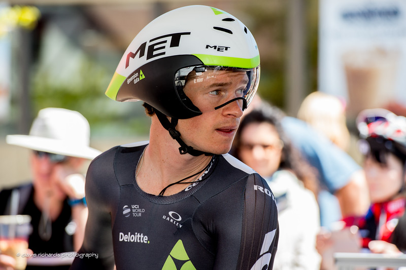 Ben King (Dimension Data) getting set for the start of the Individual Time Trial, Men's Stage 6, 2017 Amgen Tour of California (Photo by Dave Richards, daverphoto.com)