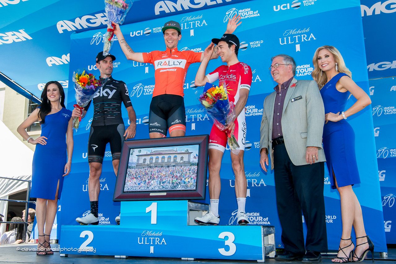Men's Stage 7 podium (L-R): 2nd place- David Lopez Garcia (Team Sky) 1st place- Evan Huffman (Rally Cycling) 3rd place- Nicolas Edet (Cofidis) , 2017 Amgen Tour of California (Photo by Dave Richards, daverphoto.com)