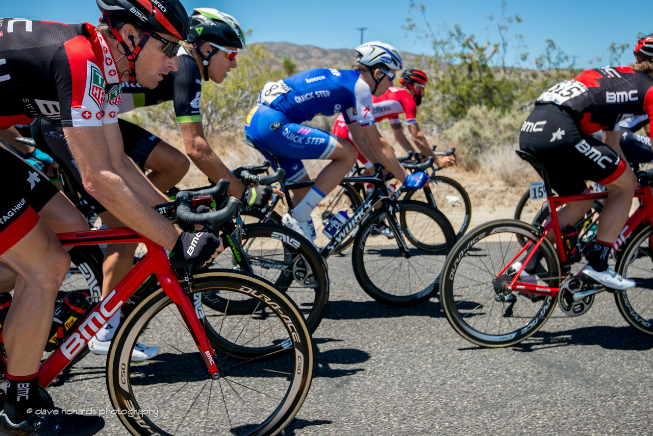 Riders hold tight together along Fort Tejon Rd. on Men's Stage 7, 2017 Amgen Tour of California (Photo by Dave Richards, daverphoto.com)