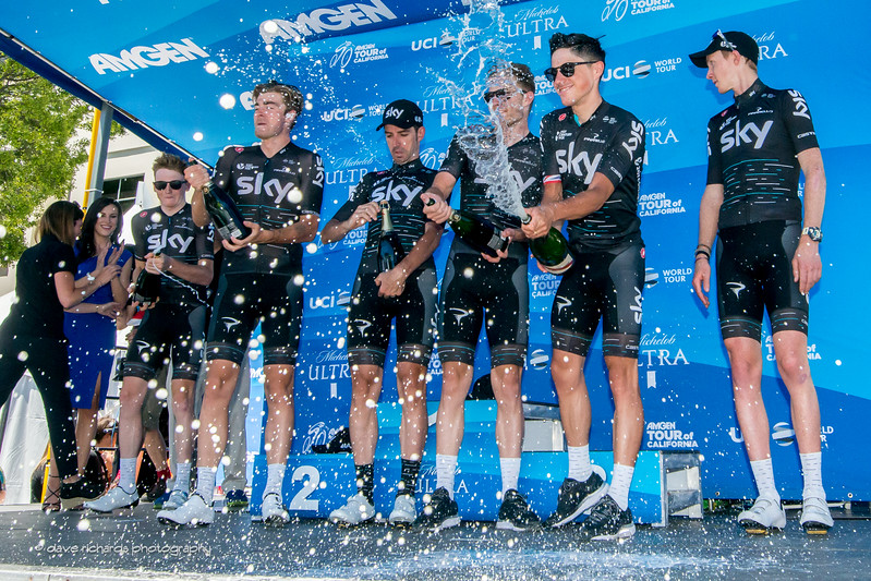 "Champagne flys as Team Sky riders celebrate their ""Best Team"" classification win. Men's Stage 7, 2017 Amgen Tour of California (Photo by Dave Richards, daverphoto.com)"
