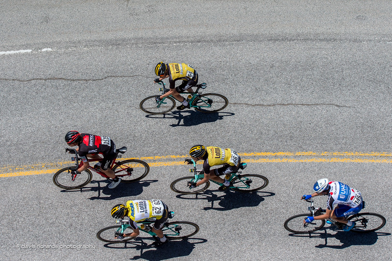 Riders & shadows on the descent down Big Pines Hwy from Mountain High Resort. Men's Stage 7, 2017 Amgen Tour of California (Photo by Dave Richards, daverphoto.com)
