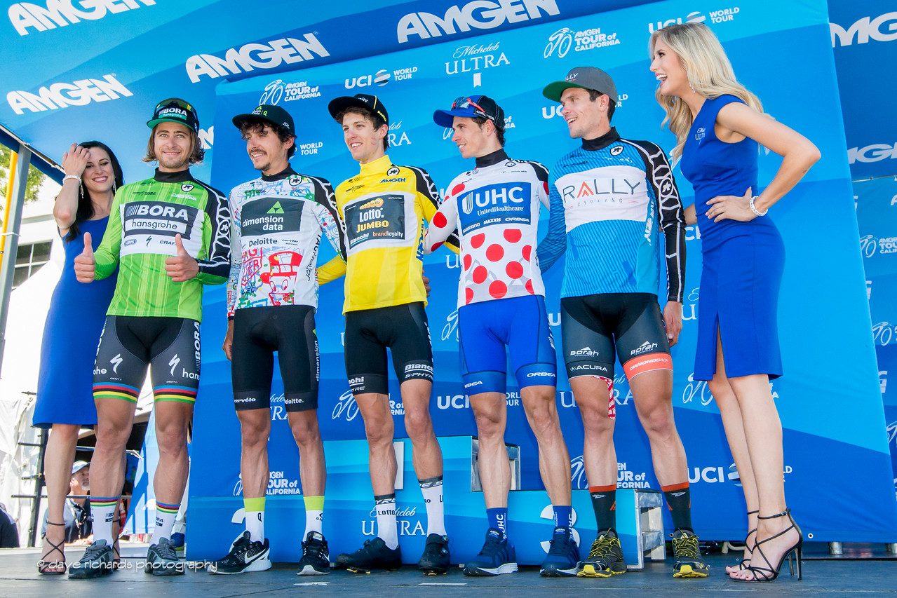Final race jersey winners (L-R): Sprints-Peter Sagan (Bora-Hansgrohe) Best Young Rider- Lachlan Morton (Team Dimension Data) Yellow Jersey Overall Winner- George Bennett (Team Lotto NL-Jumbo) King of the Mountains- Daniel Jaramillo (United Healthcare) Most Courageous Rider- Evan Huffman (Rally Cycling. 2017 Amgen Tour of California (Photo by Dave Richards, daverphoto.com)