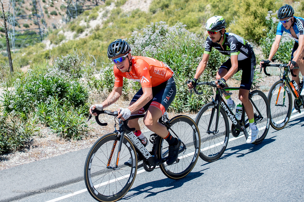 Evan  Huffman (Rally Cycling), eventual stage winner, leading the breakaway on Men's Stage 7, 2017 Amgen Tour of California (Photo by Dave Richards, daverphoto.com)