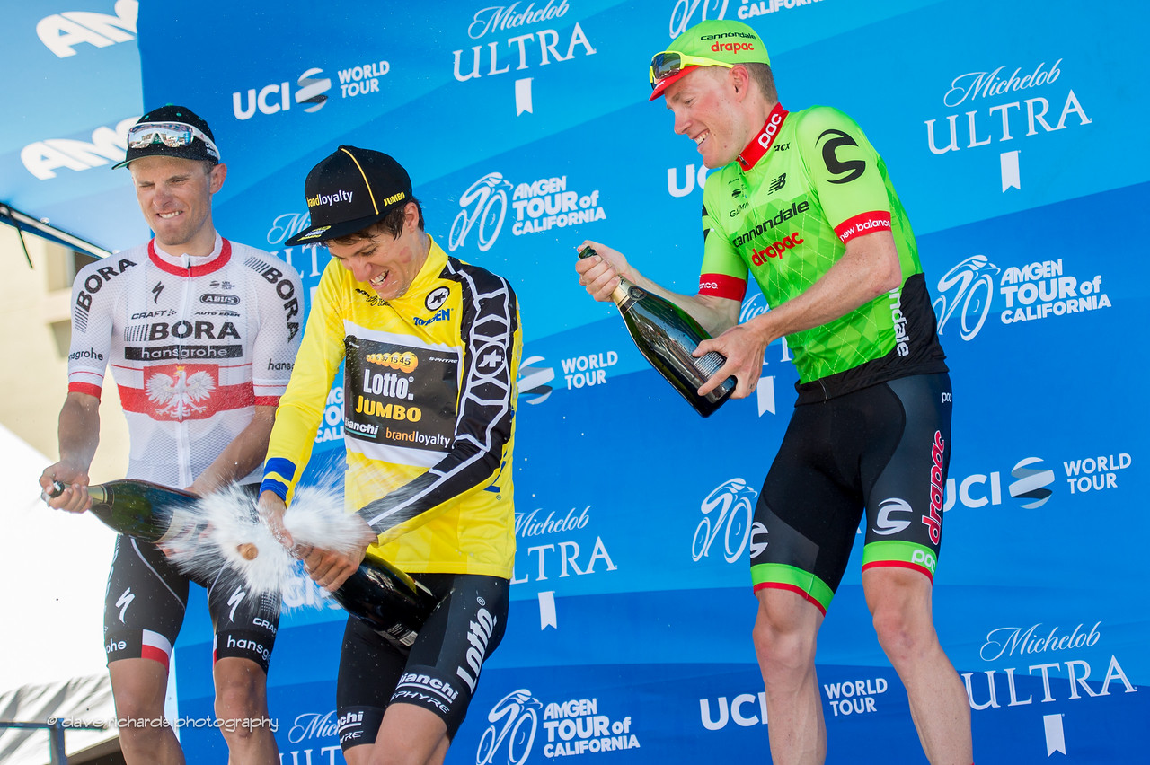 Fnal race overall top 3 riders uncork the champagne after the conclusion of Men's Stage 7. (L-R) 2nd place- Rafal Majka (Bora-Hansgrohe) 1st place George Bennett (Team Lotto NL-Jumbo) 3rd place- Andrew Talansky (Cannondale Drapac). 2017 Amgen Tour of California (Photo by Dave Richards, daverphoto.com)