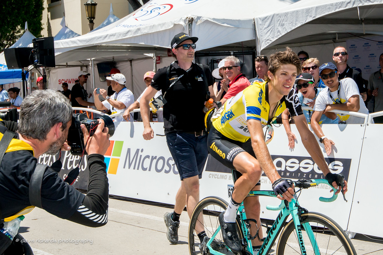George Bennett (Team Lotto NL-Jumbo) overall race leader after finishing Men's Stage 7, 2017 Amgen Tour of California (Photo by Dave Richards, daverphoto.com)
