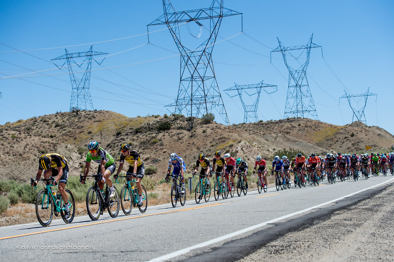 Robot towers overlook the peloton on Mt. Emma Road. Men's Stage 7, 2017 Amgen Tour of California (Photo by Dave Richards, daverphoto.com)
