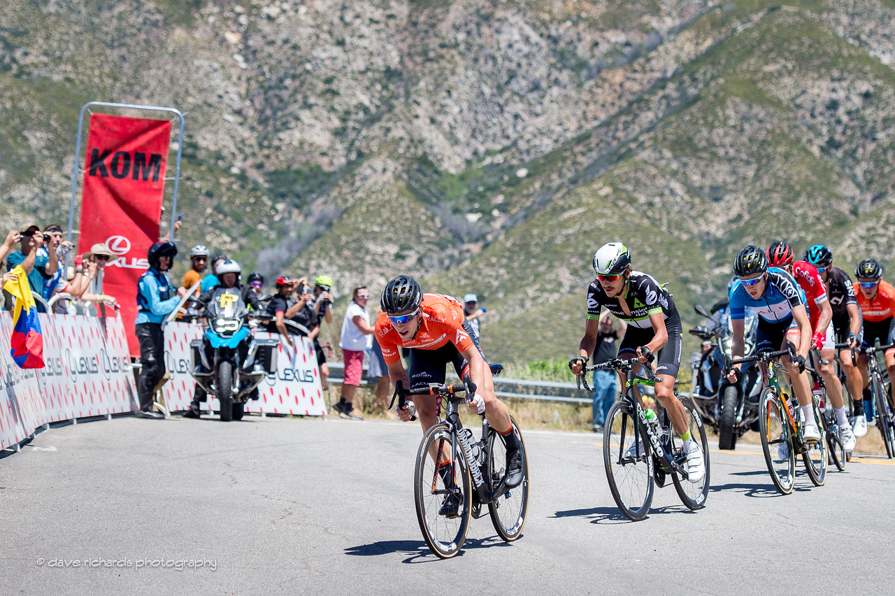 Evan Huffman (Rally Cycling) captures KOM points on Men's Stage 7, 2017 Amgen Tour of California (Photo by Dave Richards, daverphoto.com)