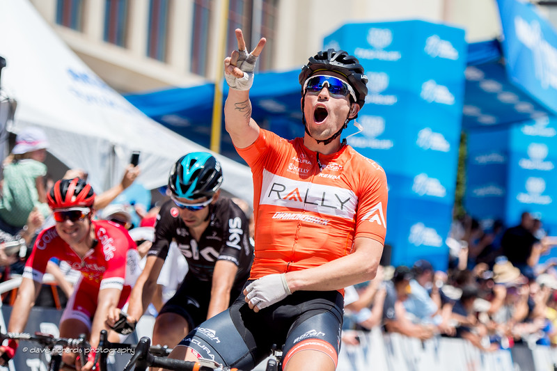 Huffman (Rally Cycling) raises a two fingered salute after winning his 2nd stage of the 2017 Amgen Tour of California (Photo by Dave Richards, daverphoto.com)