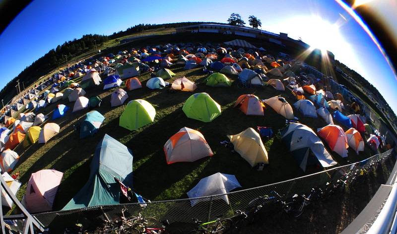 a fisheye view of the tent city
