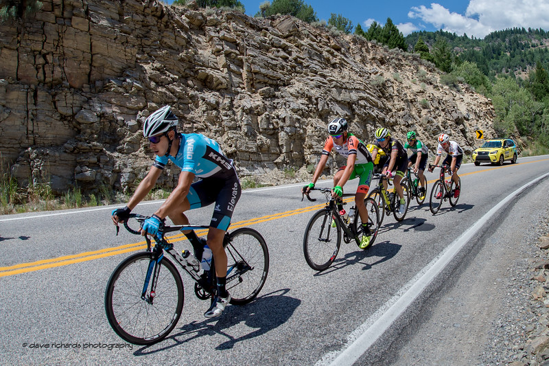Five man breakaway descending Logan Canyon on Stage 1, Logan-BearLake-Logan,  2017 LHM Tour of Utah (Photo by Dave Richards, daverphoto.com)