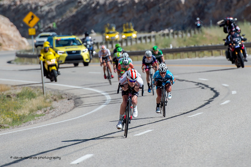 Breakaway riders get aero on the descent down to Bear Lake during Stage 1, Logan-BearLake-Logan,  2017 LHM Tour of Utah (Photo by Dave Richards, daverphoto.com)
