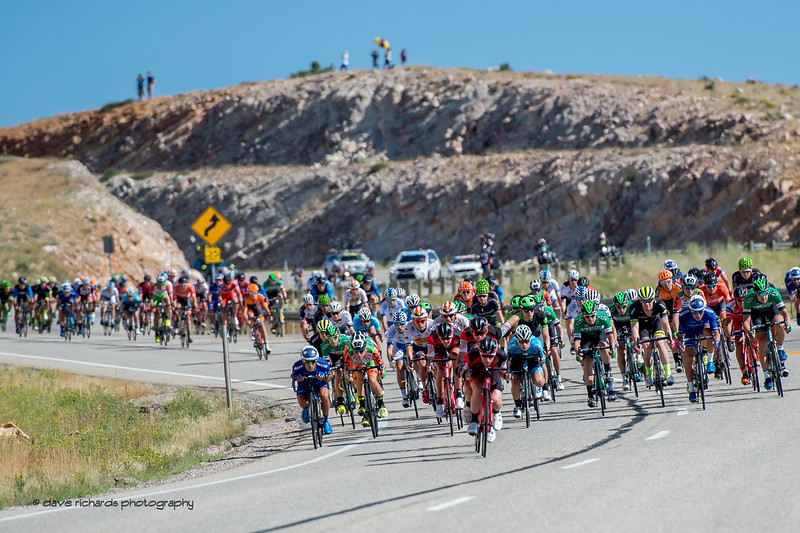 The peloton rips down a fast descent toward Bear Lake during Stage 1, Logan-BearLake-Logan,  2017 LHM Tour of Utah (Photo by Dave Richards, daverphoto.com)