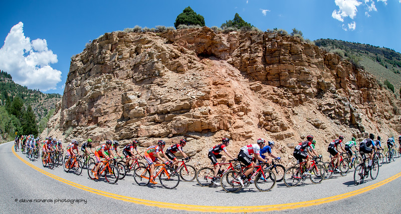 Rugged rock formation in Logan Canyon on Stage 1, Logan-BearLake-Logan,  2017 LHM Tour of Utah (Photo by Dave Richards, daverphoto.com)