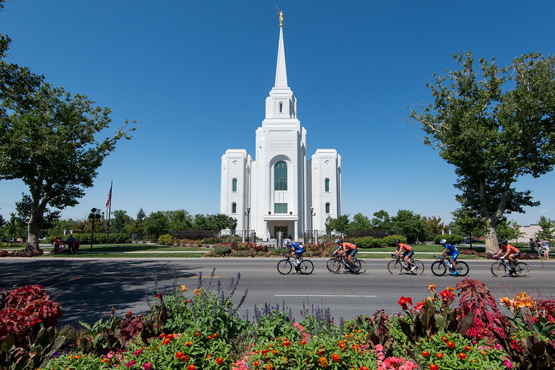 Breakaway passes by the Brigham City Mormon Temple during Stage 2, BrighamCity-SnowBasin,  2017 LHM Tour of Utah (Photo by Dave Richards, daverphoto.com)
