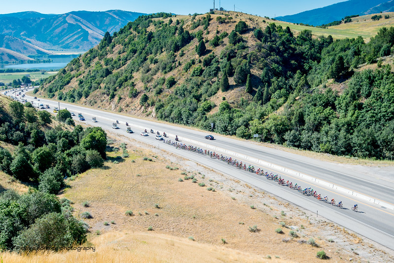 The peloton rides up the canyon above Mantua, Utah. Stage 2, BrighamCity-SnowBasin,  2017 LHM Tour of Utah (Photo by Dave Richards, daverphoto.com)