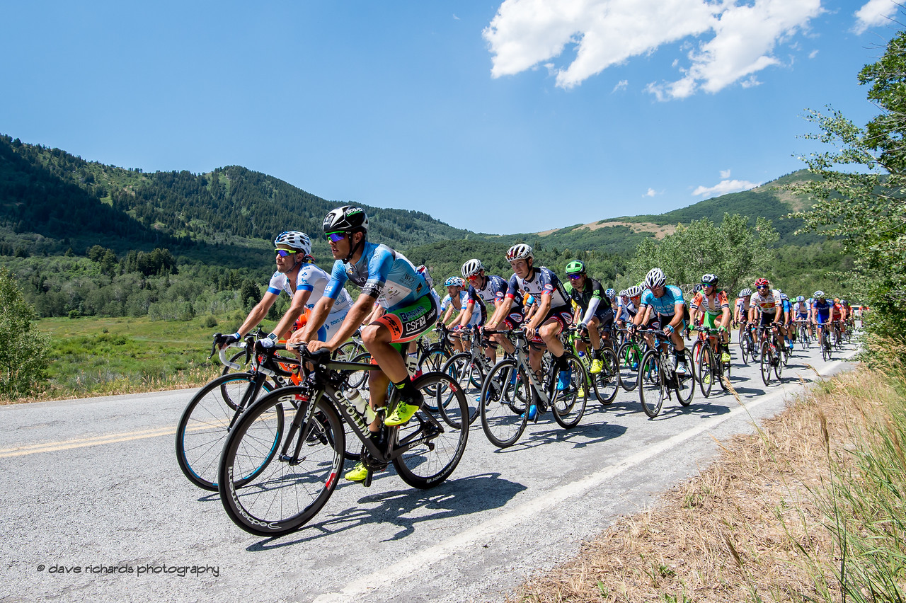 The grupetto brings up the rear on the climb to Snow Basin. Stage 2, BrighamCity-SnowBasin,  2017 LHM Tour of Utah (Photo by Dave Richards, daverphoto.com)
