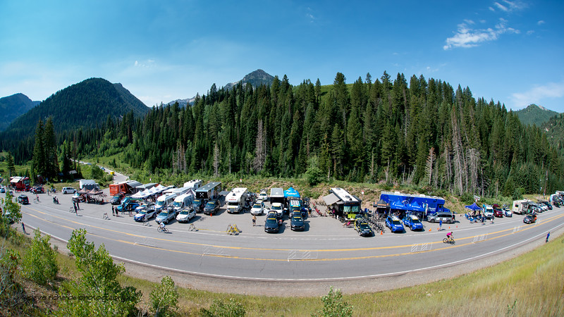 Team cars and buses lined the road for the start of Stage 3, Individual Time Trial Big Cottonwood Canyon,  2017 LHM Tour of Utah (Photo by Dave Richards, daverphoto.com)