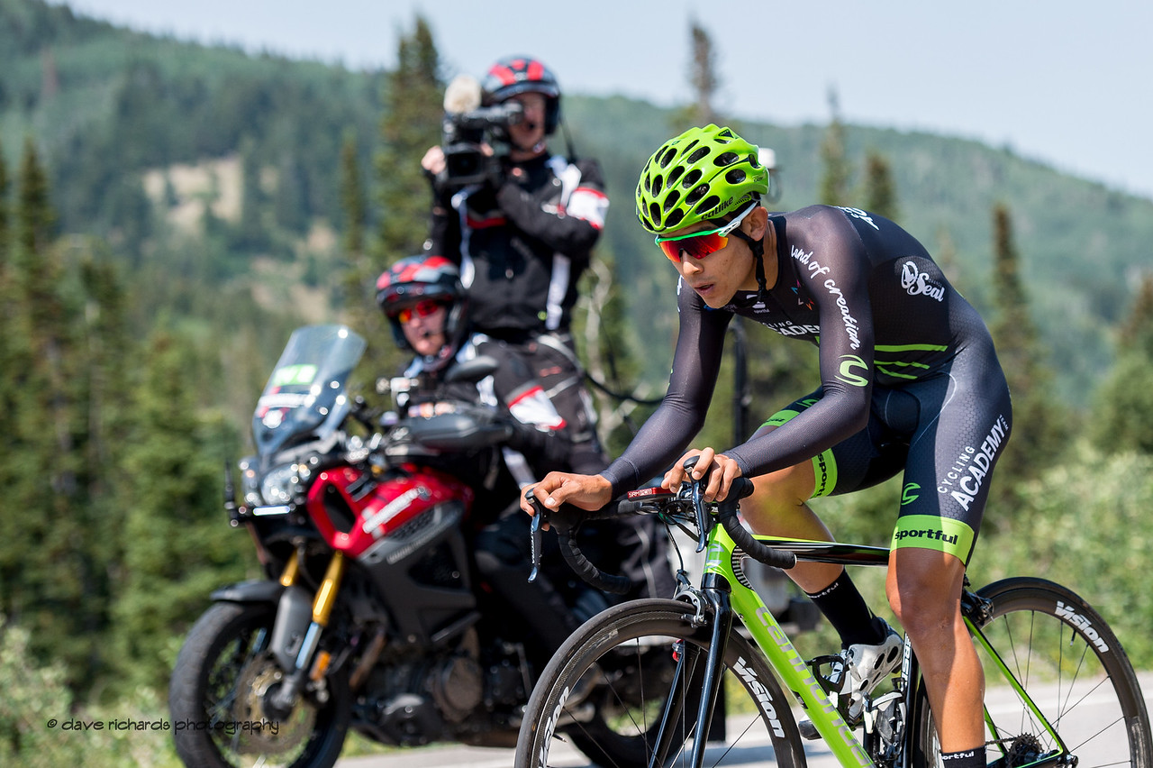 The TV moto follows an Israel Cycling Academy rider during Stage 3, Individual Time Trial Big Cottonwood Canyon,  2017 LHM Tour of Utah (Photo by Dave Richards, daverphoto.com)