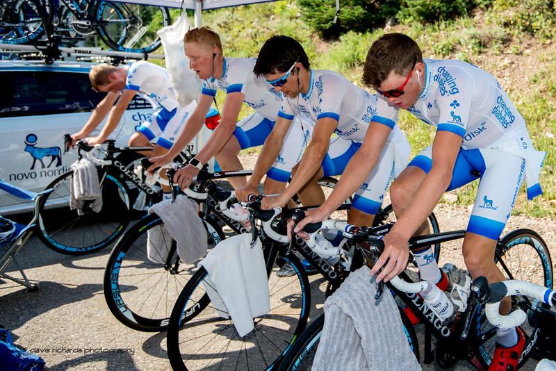 Novo Nordisk riders warm up on trainers getting ready for Stage 3, Individual Time Trial Big Cottonwood Canyon,  2017 LHM Tour of Utah (Photo by Dave Richards, daverphoto.com)