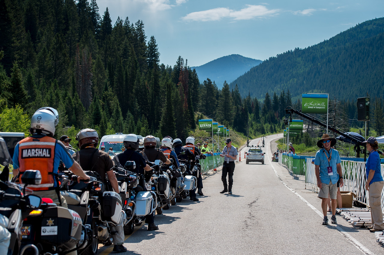 Motor marshalls staged &  ready to escort each rider as they start one by one on Stage 3, Individual Time Trial Big Cottonwood Canyon,  2017 LHM Tour of Utah (Photo by Dave Richards, daverphoto.com)