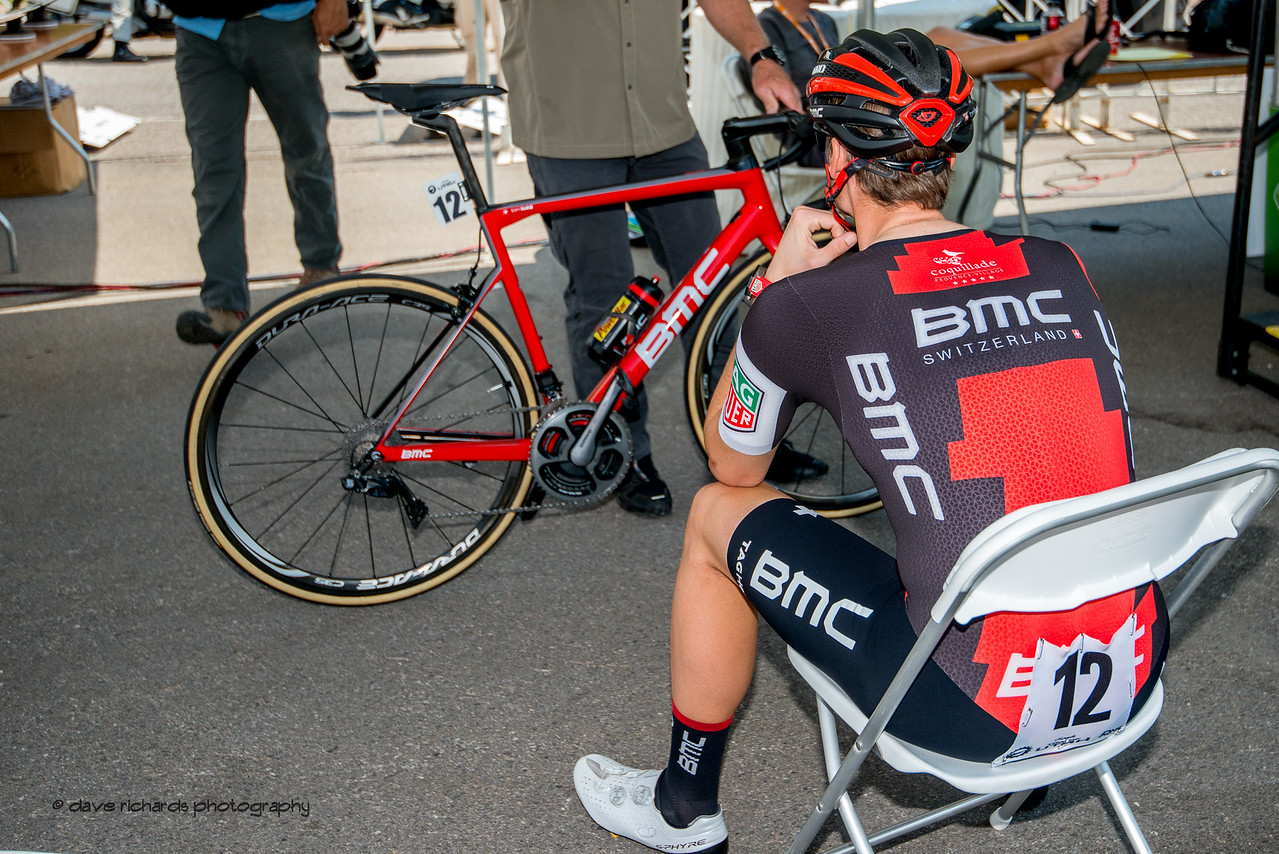BMC rider gathers his thoughts awaiting his turn on Stage 3, Individual Time Trial Big Cottonwood Canyon,  2017 LHM Tour of Utah (Photo by Dave Richards, daverphoto.com)