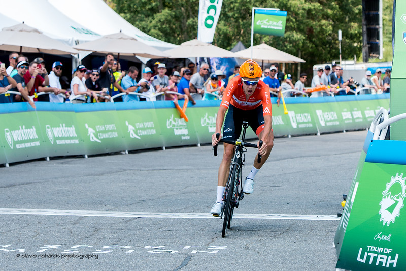 Rob Britton of Rally Cycling rips across the finish line to win Stage 3, Individual Time Trial Big Cottonwood Canyon,  2017 LHM Tour of Utah (Photo by Dave Richards, daverphoto.com)