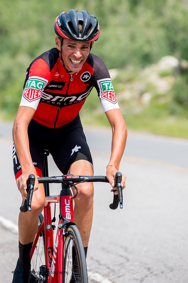 """BMC rider is buried deep in the """"pain cave"""" on Stage 3, Individual Time Trial Big Cottonwood Canyon,  2017 LHM Tour of Utah (Photo by Dave Richards, daverphoto.com)"""