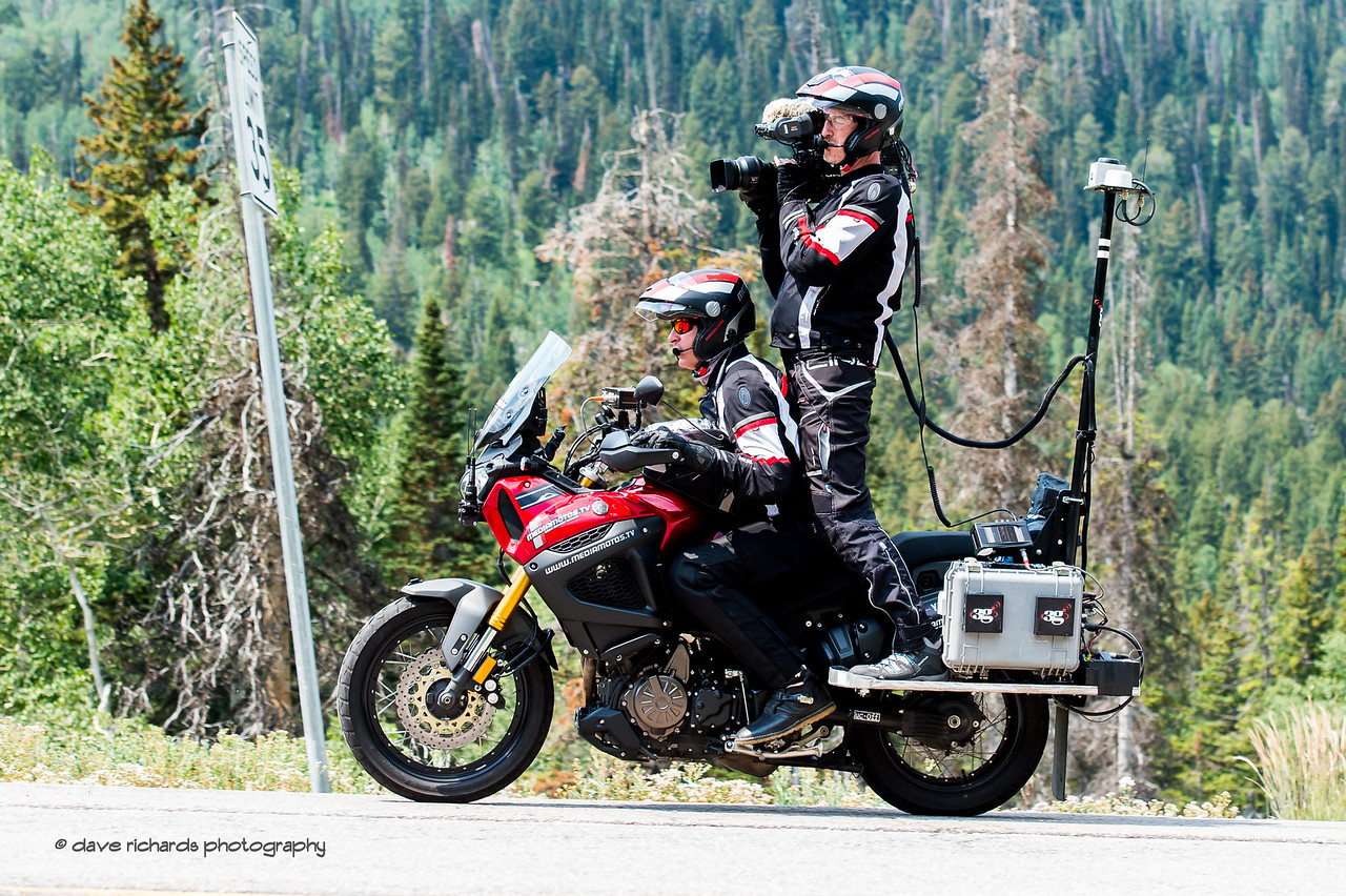 TV moto doing its thing. Stage 3, Individual Time Trial Big Cottonwood Canyon,  2017 LHM Tour of Utah (Photo by Dave Richards, daverphoto.com)