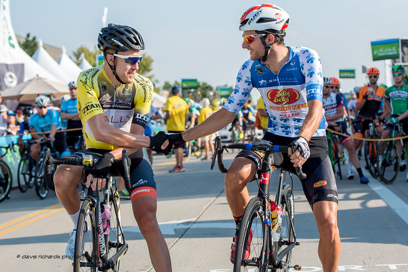 Always a class act, Rob Britton (Rally Cycling) wishes best luck to  KOM Leader Jacob Rathe (Jelly Belly P/B Maxxis) Stage 4, South Jordan City to west desert Pony Express Route and back,  2017 LHM Tour of Utah (Photo by Dave Richards, daverphoto.com)