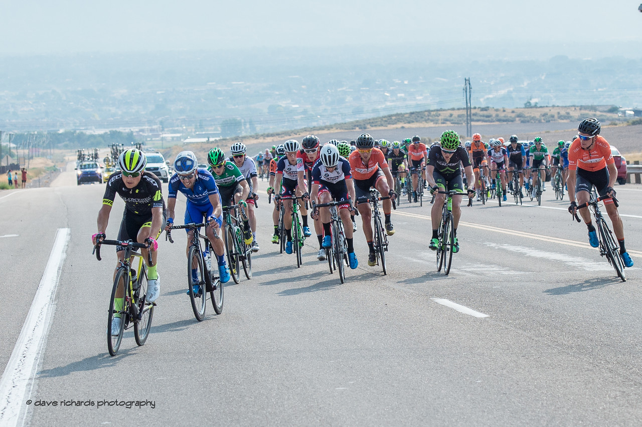 """It's """"shake & bake"""" as riders try to jump ahead from the peloton to form a breakaway Stage 4, South Jordan City to west desert Pony Express Route and back,  2017 LHM Tour of Utah (Photo by Dave Richards, daverphoto.com)"""