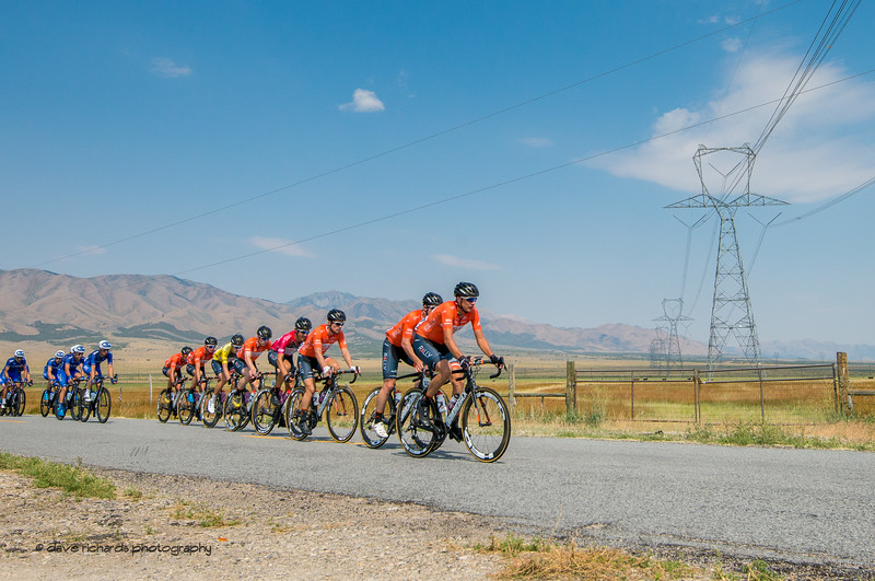 Rally Cycling riders are  lined up protecting their teammate Rob Britton, Yellow Jersey Leader during Stage 4, South Jordan City to west desert Pony Express Route and back,  2017 LHM Tour of Utah (Photo by Dave Richards, daverphoto.com)
